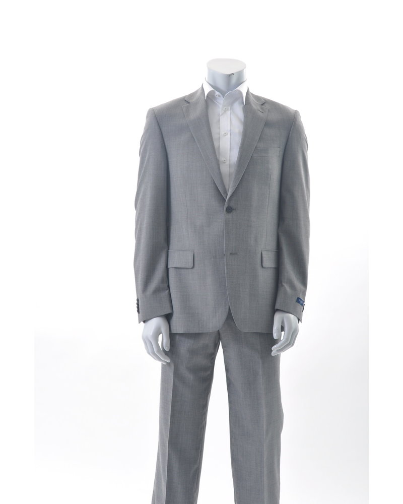 S COHEN Classic Fit Mid Grey Neat Sharkskin Suit