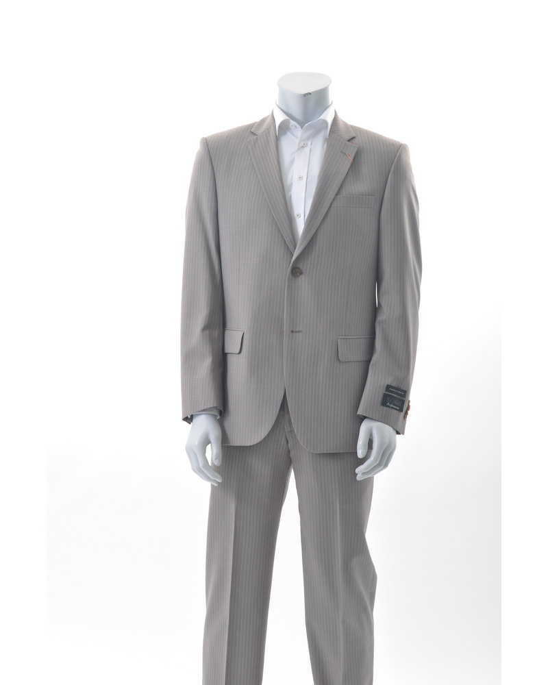 S COHEN Classic Fit Taupe with Tan Stripe Suit