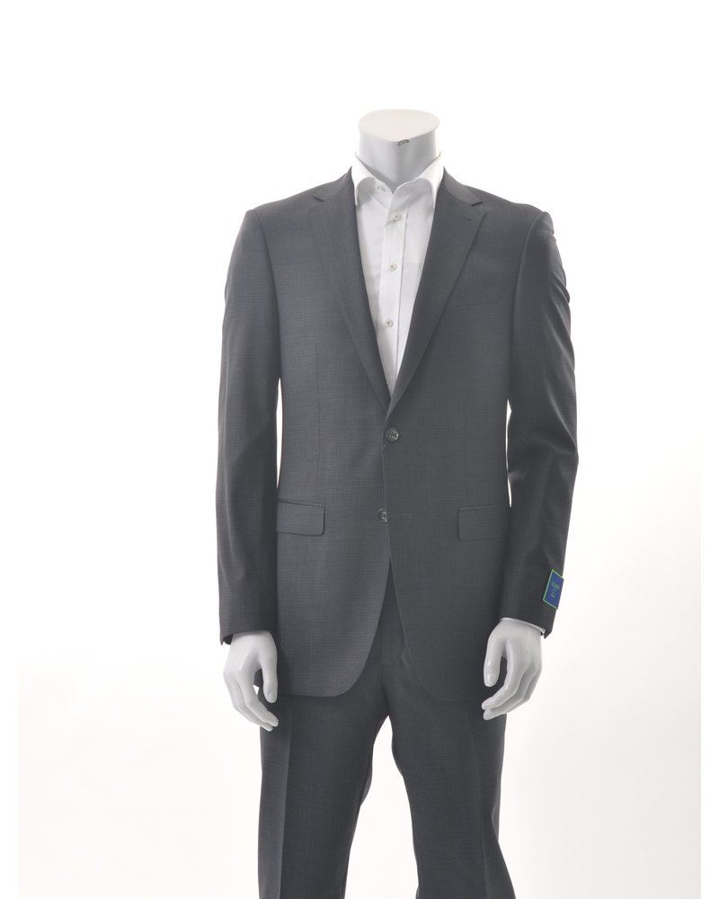 S COHEN Modern Fit Charcoal Black Check Suit