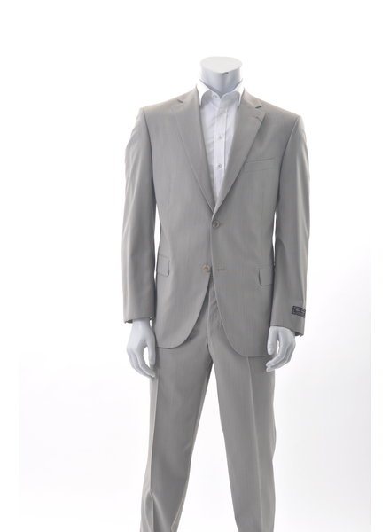 JACK VICTOR Modern Fit Tan Self Stripe Suit