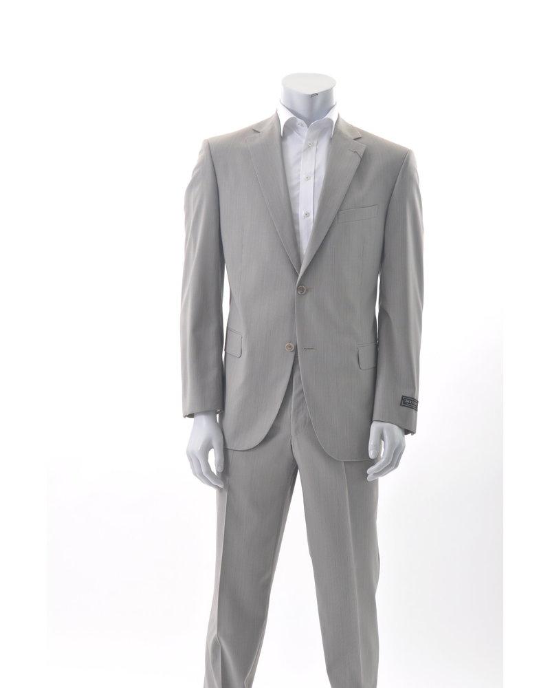 JACK VICTOR Modern Fit Tan Self Stripe Suit