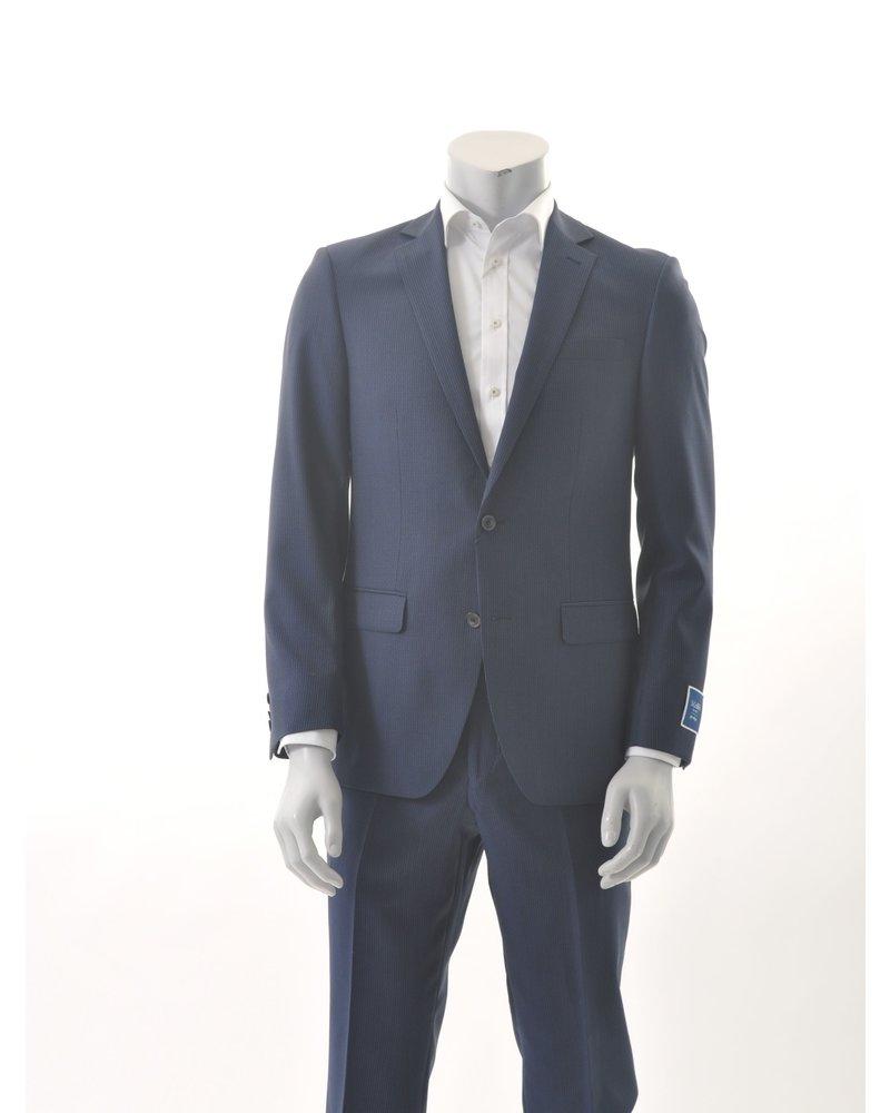 S COHEN Slim Fit Blue Neat Stripe Suit