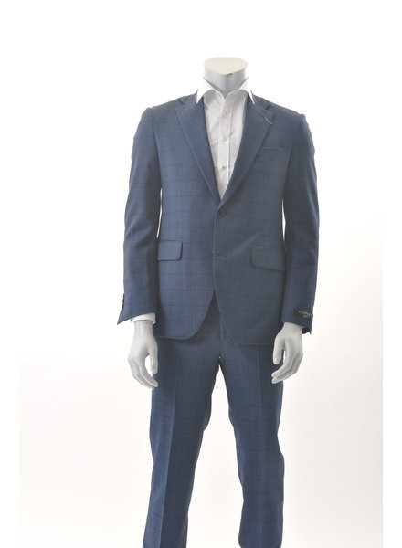 COPPLEY Slim Fit Blue Windowpane Suit