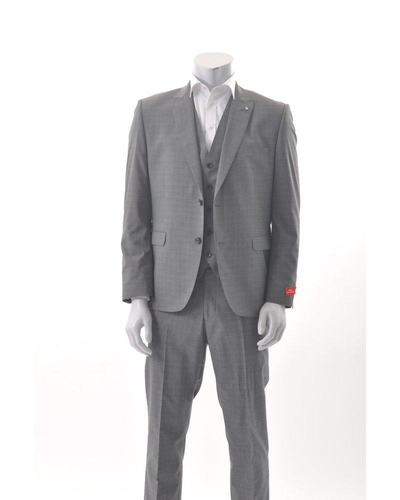LAMBRETTA Slim Fit Mid Grey Neat Pattern Suit