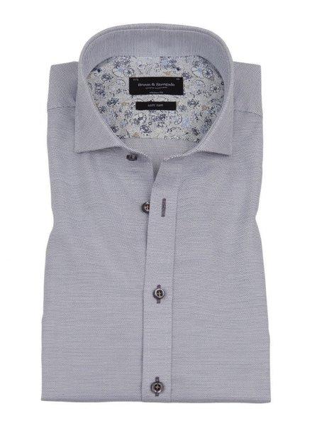 BRUUN & STENGADE Modern Fit Blue and White Neat Shirt