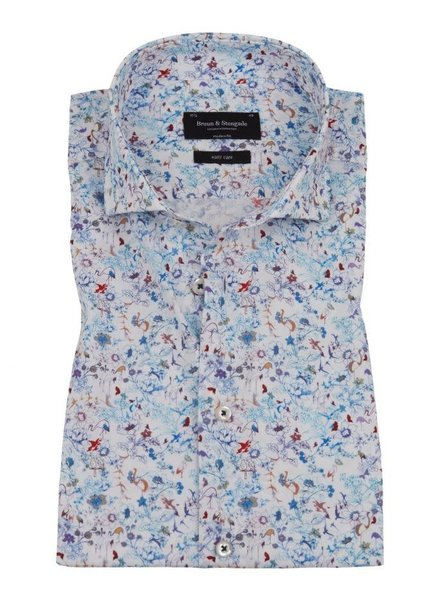 BRUUN & STENGADE Modern Fit Nature Print Shirt