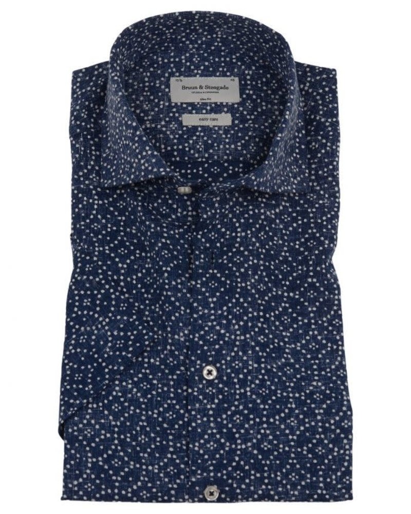 BRUUN & STENGADE Slim Fit Navy White Dot Shirt