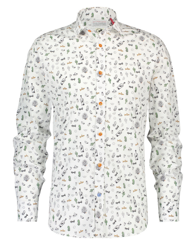 A FISH NAMED FRED Modern Fit Tequila White SS Shirt