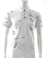 A FISH NAMED FRED Embroidery Bird White Pique Polo