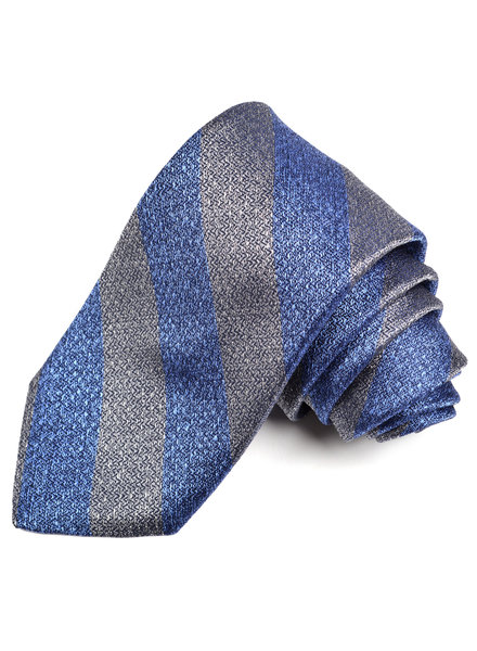 DION Grey Blue Striped Silk Tie
