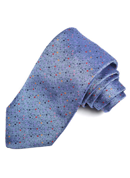 DION Blue Multi Dot Silk Tie