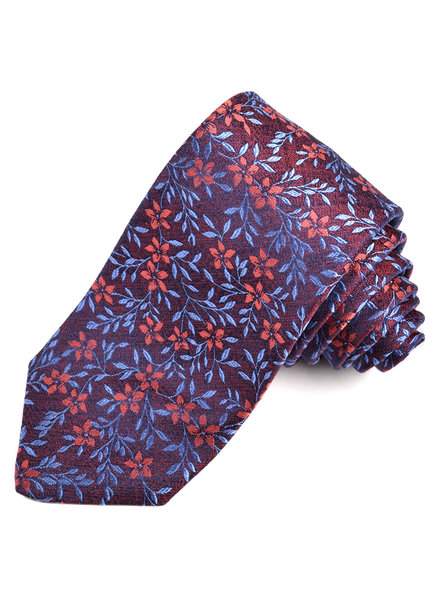 DION Burgundy Floral Silk Tie