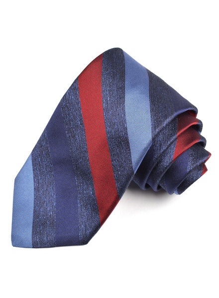 DION Blue Red Striped Silk Tie