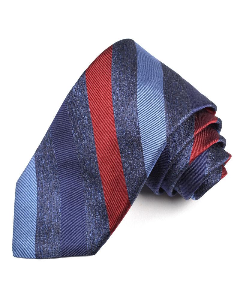 DION Blue Red Striped Silk Tie