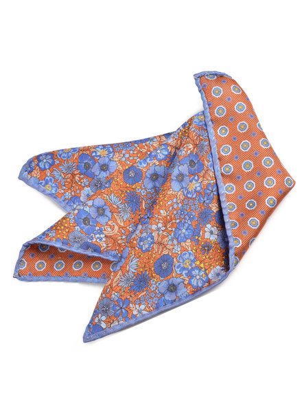 DION Orange Blue Floral Pocket Square