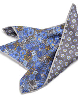 DION Blue Grey Floral Pocket Square