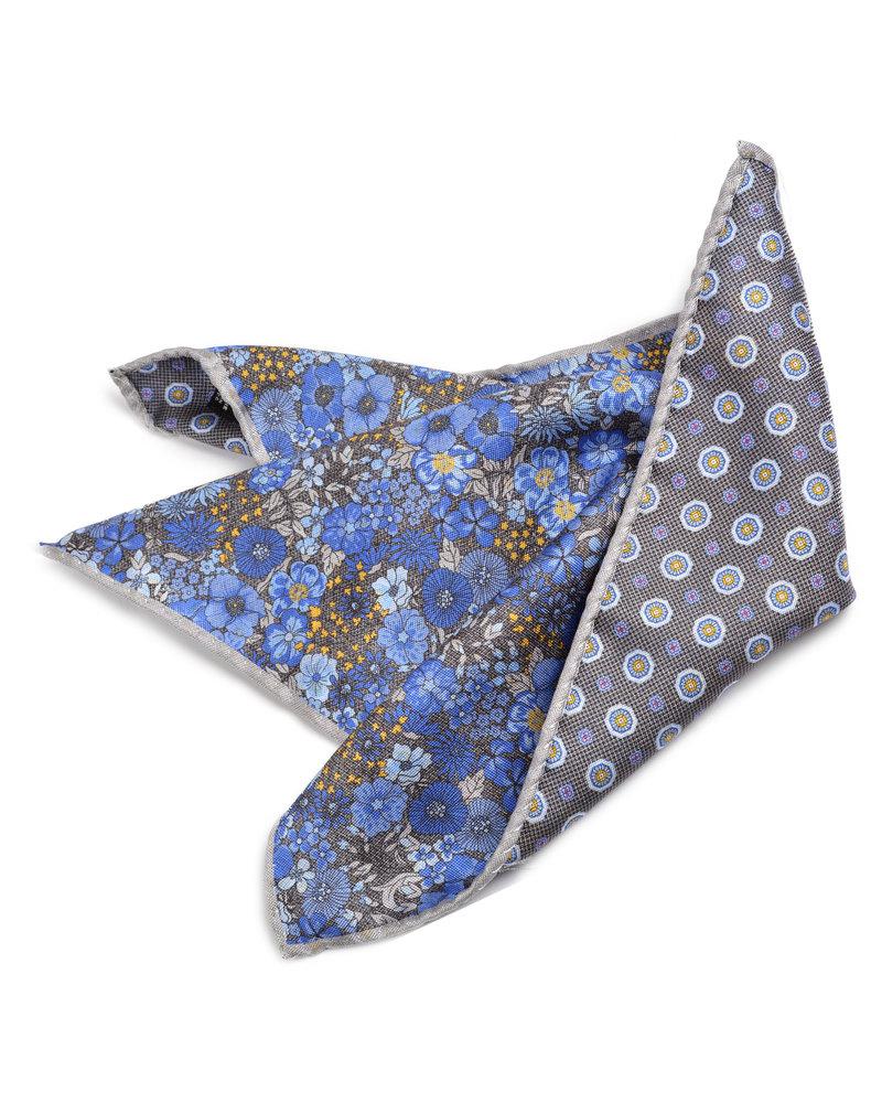 DION Blue Grey Floral Pocket Square