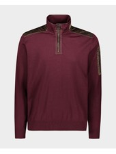 PAUL & SHARK Burgundy 1/4 Zip with Corduroy Trim Sweater