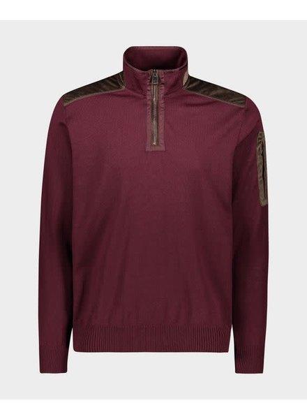 PAUL & SHARK Burgundy 1/4 Zip with Corduroy Trim Sweater