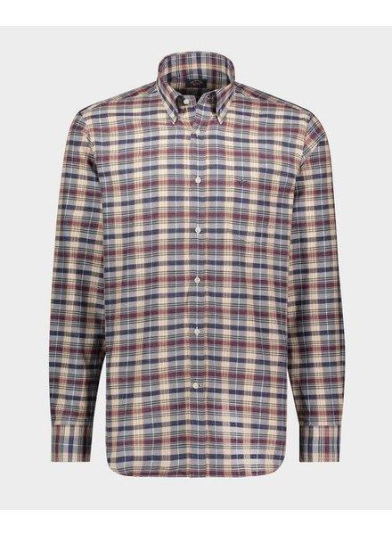 PAUL & SHARK Classic Fit Navy Burgundy Plaid Shirt