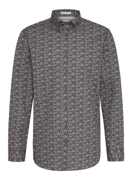 BUGATTI Modern Fit Navy Brown Floral Shirt