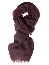 BUGATTI Wool Cotton Grey Red Stripe Scarf