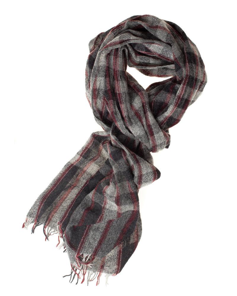 BUGATTI Wool Cotton Grey Black Stripe Scarf
