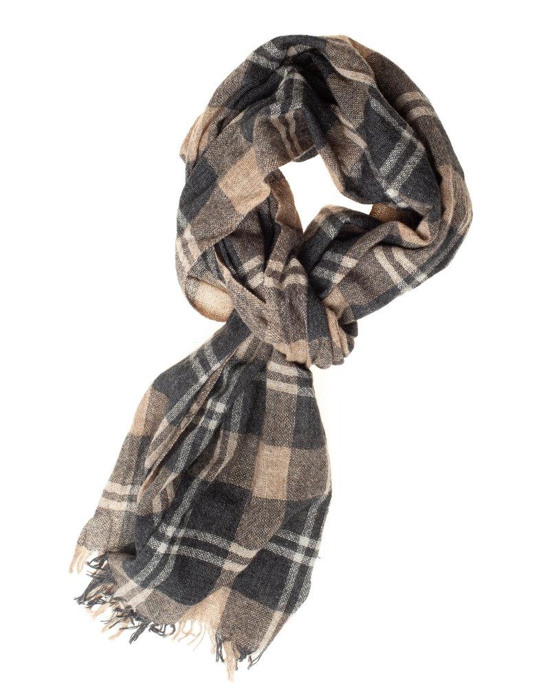 BUGATTI Wool Cotton Grey Tan Scarf