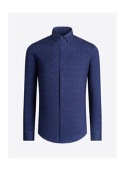 BUGATCHI UOMO Modern Fit Ooh Cotton Navy Twill Shirt