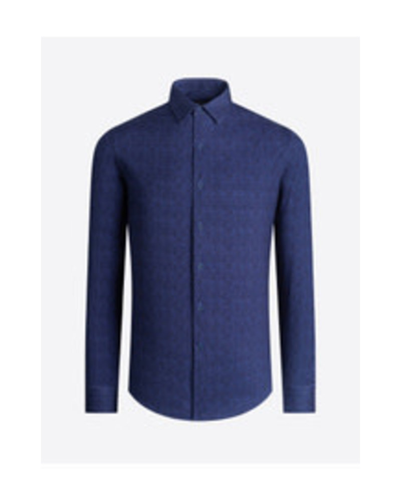 BUGATCHI UOMO Modern Fit Ooh Cotton Navy Twill Shirt