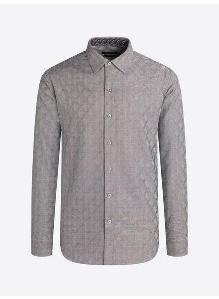 BUGATCHI UOMO Classic Fit Grey Diamond Plaid Shirt
