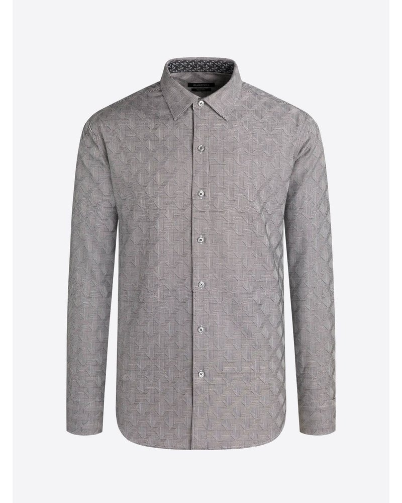BUGATCHI UOMO Classic Fit Grey Diamond Plaid Shirt