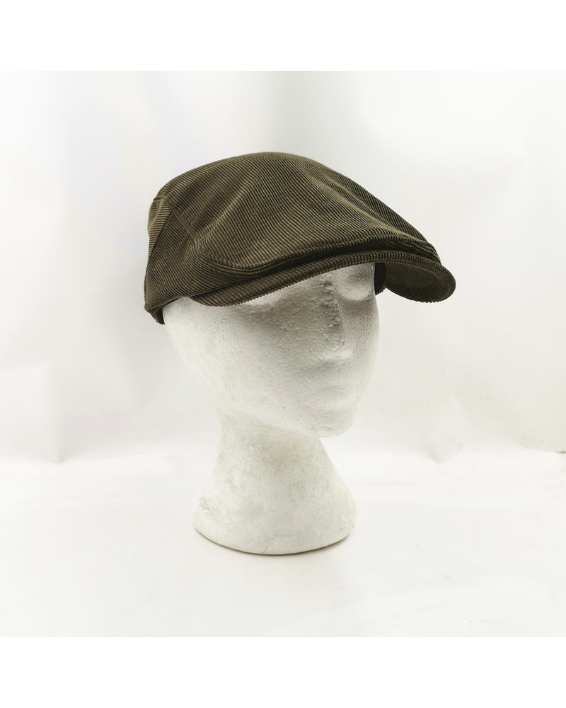 A FISH NAMED FRED Green Corduroy Flat Cap