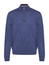 BUGATTI Blue Merino 1/4 Zip Sweater