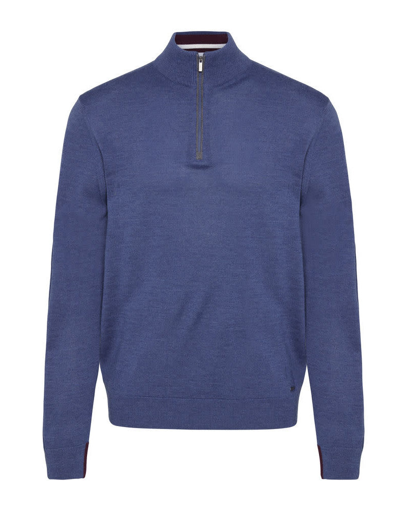 BUGATTI Blue Merino 1/4 Zip Sweater
