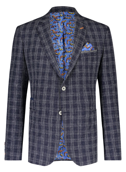 A FISH NAMED FRED Slim Fit Navy Plaid Sport Coat