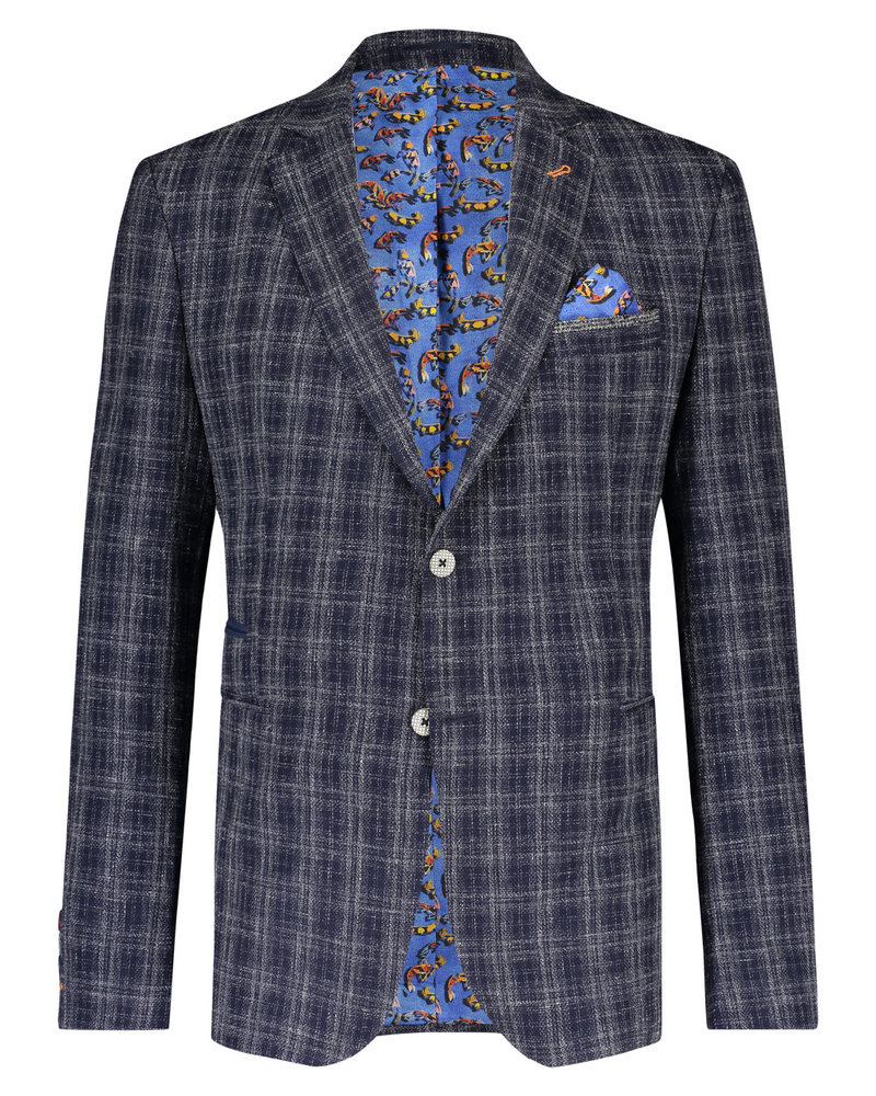 A FISH NAMED FRED Modern Fit Navy Plaid Sport Coat
