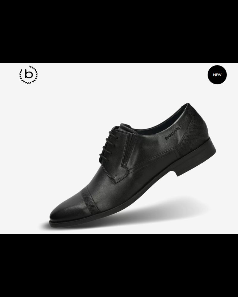 BUGATTI Black with Plain Toe Cap Shoe