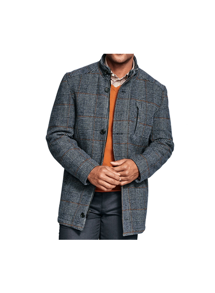 JOHNSTON & MURPHY Blue Plaid Wool Coat