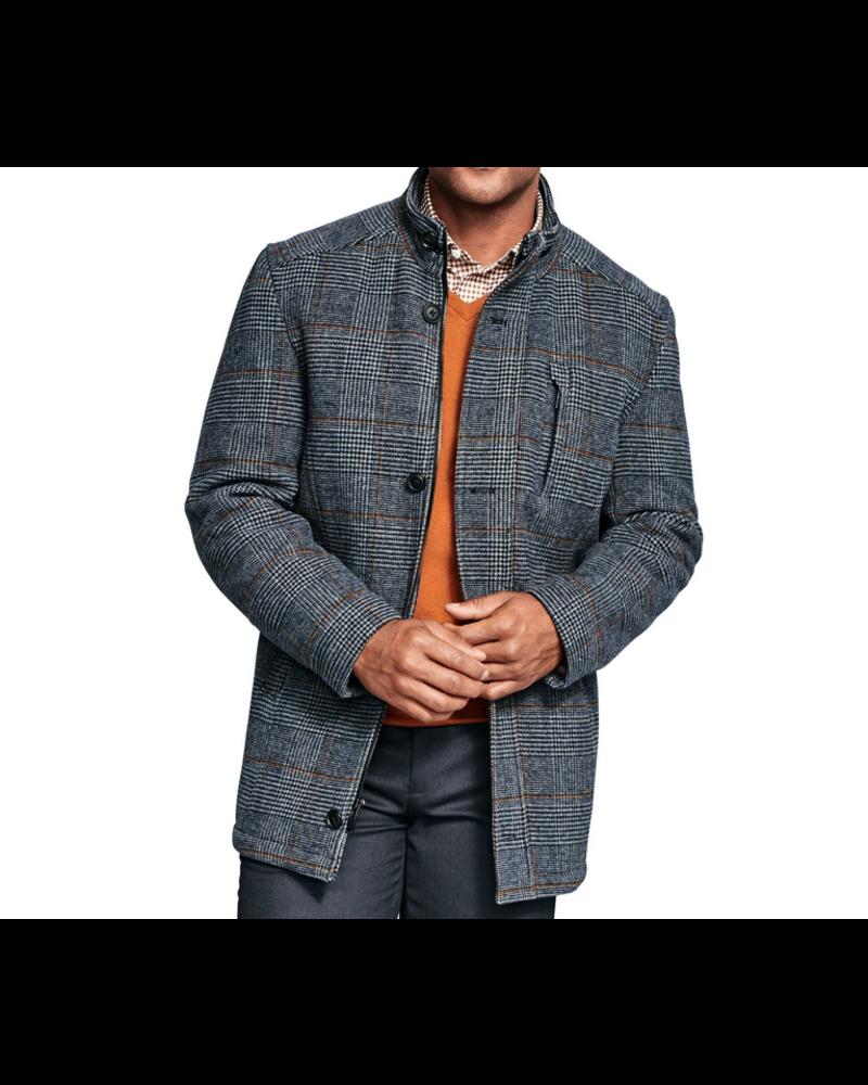 JOHNSTON & MURPHY Blue Plaid Wool Coat