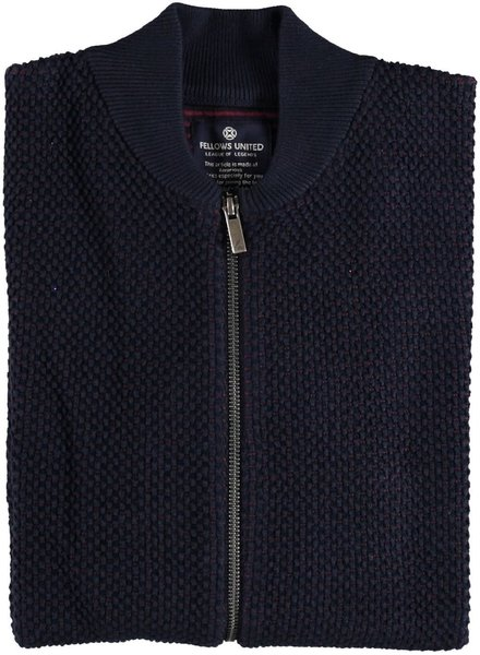 FELLOWS UNITED Navy Red Full Zip Sweater