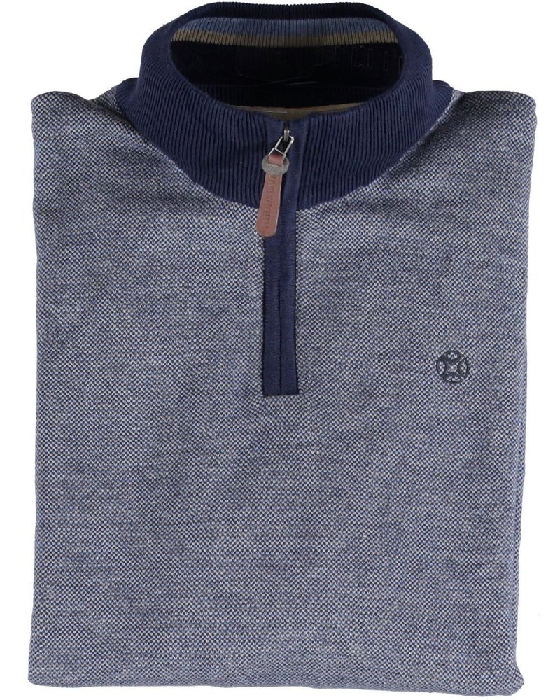 FELLOWS UNITED Mid Blue with Tan 1/4 Zip Sweater