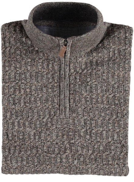 FELLOWS UNITED Brown Tones 1/4 Zip Sweater