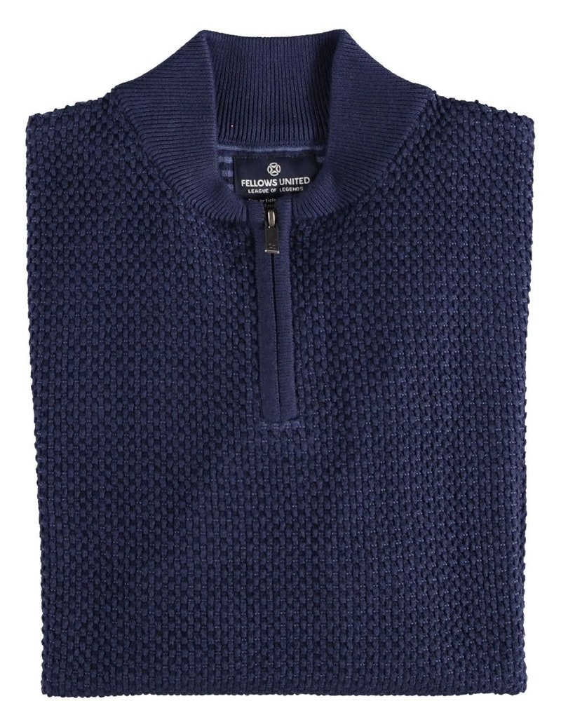 FELLOWS UNITED Mid Blue 1/4 Zip Sweater