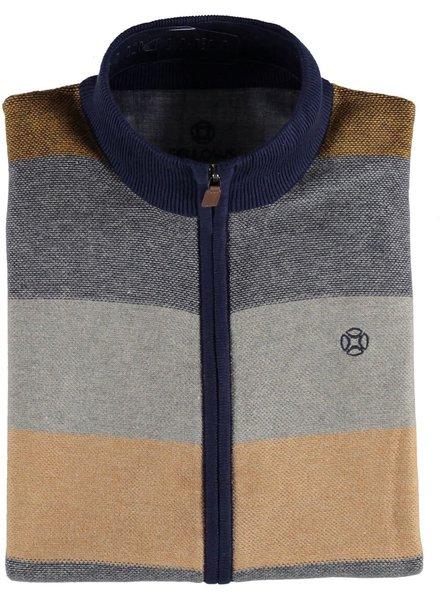 FELLOWS UNITED Grey & Brown Full Zip Sweater