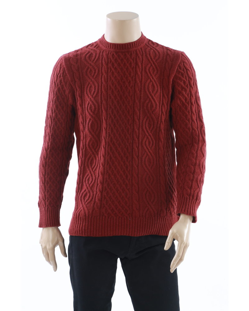 BENSON Alpaca Cable Knit Red Sweater