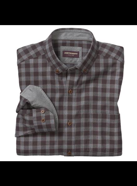 JOHNSTON & MURPHY Classic Fit Brown Gingham Shirt