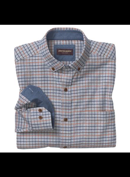 JOHNSTON & MURPHY Classic Fit Grey with Navy Orange Block Shirt