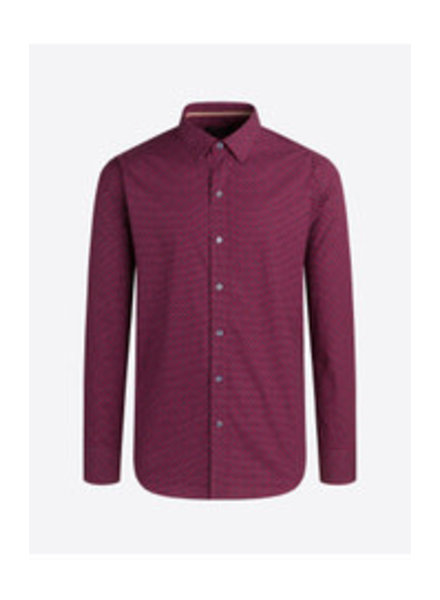 BUGATCHI UOMO Classic Fit Red Navy Patterned Shirt