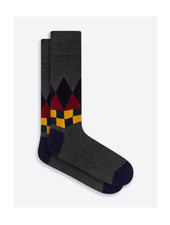 BUGATCHI UOMO Grey Cotton Cashmere Argyle Sock